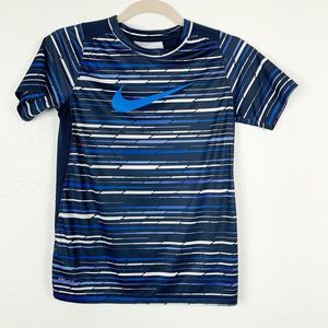 Nike Dri-Fit Blue Stripe Activewear Shirt Kids Med